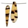 Glass 5X16mm Dagger Matt Tortoise Beads Tortoise - Strung